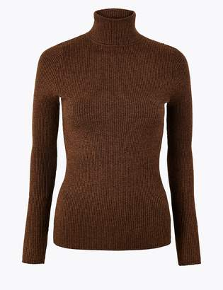 M&S CollectionMarks and Spencer Ribbed Roll Neck Fitted Jumper