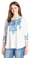 Lucky Brand Women's Plus-Size Tile-Embroidered Long-Sleeve Top