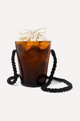 Montunas Lirio Resin And Silk-satin Bucket Bag - Brown