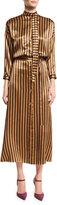 Nina Ricci Striped Silk Midi Dress, Camel