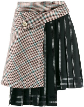 Off-White Houndstooth Panel Pinstriped Skirt