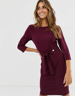 Paper Dolls tie waist pencil dress-Purple