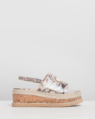 Missguided Flatform Cork Sole Slingback Sandals