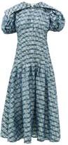 Chopova Lowena - Puff-sleeve Tartan-print Organza Dress - Womens - Blue Multi