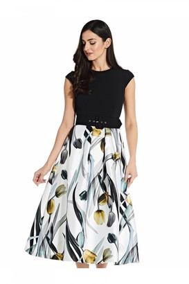 Adrianna Papell Printed Mikado Fit And Flare
