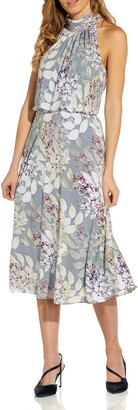 Adrianna Papell Watercolor Floral Halter Neck Chiffon Midi Dress
