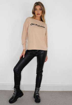 Missguided Petite Beige Oh Please Graphic Long Sleeve T Shirt