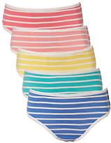 John Lewis Girls' Stripe Print Briefs, Pack of 5, Multi