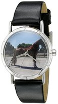 Whimsical Watches Kids' R0110031 Classic Tennessee Walker Horse Black Leather And Silvertone Photo Watch