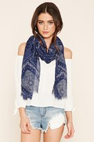 Forever 21 Frayed Oblong Paisley Scarf