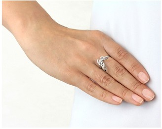 Sterling Silver Rhodium Plated Filigree Butterfly Ring