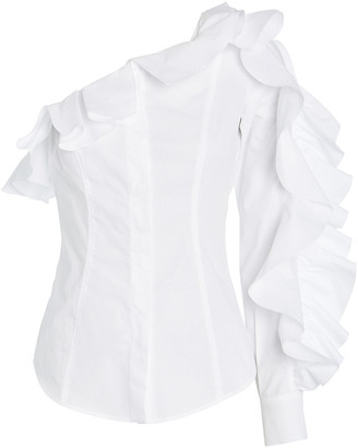 Sara Battaglia Ruffled One-Shoulder Button Down