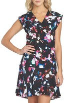 1 STATE 1.STATE Abstract Floral Print Flounce Dress