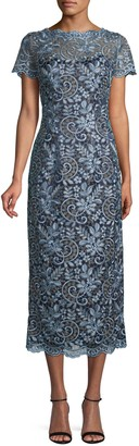 JS Collections Metallic Scroll-Embroidered Dress