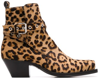 Versace Leopard Print 60mm Ankle Boots