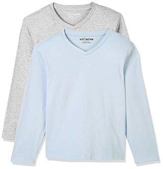 Kid Nation Kids 100% Cotton 2 Pack Light Weight Basic Soft Solid Long Sleeve V Neck T-Shirts Black XS