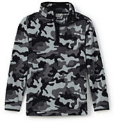 Lands' End Little Boys ThernaCheck 100 Printed Half Zip-Dark Asphalt Camo