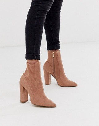 Qupid heeled sock boot in beige