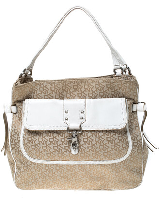 DKNY Beige/White Signature Canvas and Leather Front Pocket Hobo