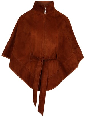 Zut London Suede Leather Cape With Belt - Honey