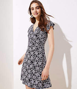 LOFT Petite Flutter Wrap Dress