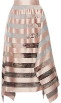 Fendi Asymmetric Striped Satin And Printed Organza Midi Skirt - Pastel pink
