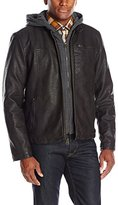 Levi's Men's Sherpa Lind Rugged Buffed Cow Faux Leather Hooded Racer