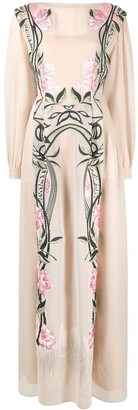 Alberta Ferretti Embroidered Long-Sleeved Maxi Dress