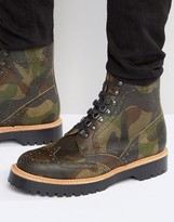 Asos Brogue Boots In Camo Leather Made in England