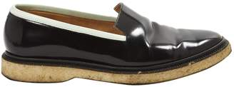 Adieu Black Leather Flats