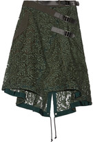 Sacai Twill And Leather-trimmed Guipure Lace Wrap Skirt - Army green