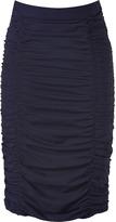 Moschino Cheap & Chic Navy Ruched Silk Skirt