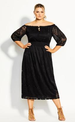 City Chic Precious Detail Dress - black