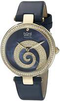 Burgi Women's BUR143BU Round Blue Mother of Pearl and Yellow Gold Dial with Swarovski Crystals Quartz Movement Satin Strap Watch