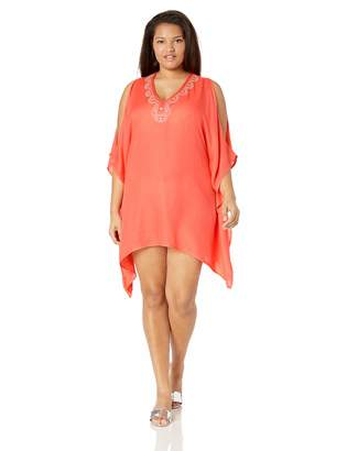 Lucky Brand Women's Plus Size V-Neck Swing Tunic Beach Cover Up