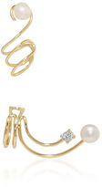 Fallon Astro Gold and Pearl Spiral Ear Cuff Set