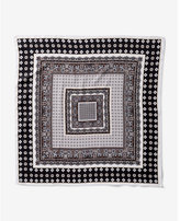 Express black and white printed neckerchief
