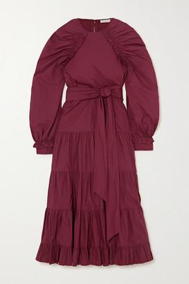 Ulla Johnson Samar Belted Tiered Ruched Cotton-poplin Midi Dress - Burgundy