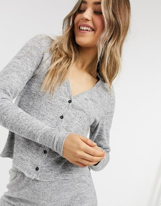 Pieces soft touch lounge wear cardigan co ord in grey