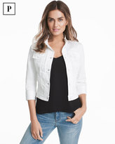 White House Black Market Petite Three-Quarter Sleeve White Denim Jacket