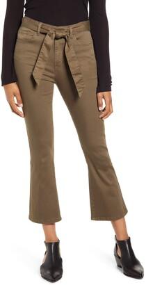 Prosperity Denim Belted Crop Flare Jeans