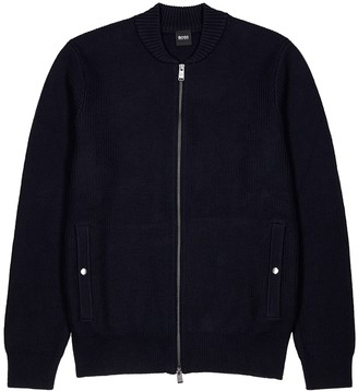 BOSS Navy chunky-knit cotton-blend cardigan