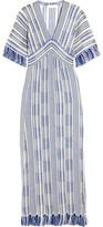 Tory Burch Debra Frayed Linen And Cotton-blend Maxi Dress - Blue