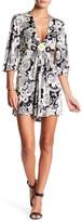 Sky Hopkins Plunge V-Neck Embellished Silk Dress
