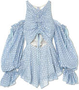 Alice McCall Did It Again Cutout Gathered Flocked Georgette Playsuit - Blue