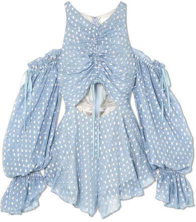 Alice McCall Did It Again Cold-shoulder Gathered Fil Coupé Georgette Playsuit - Blue