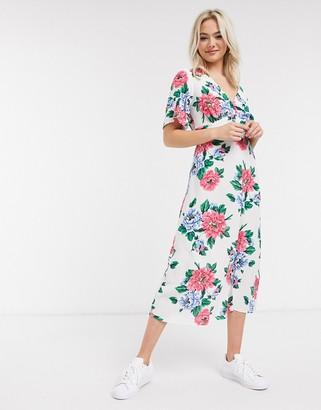 New Look bright floral v neck midi dress in multi