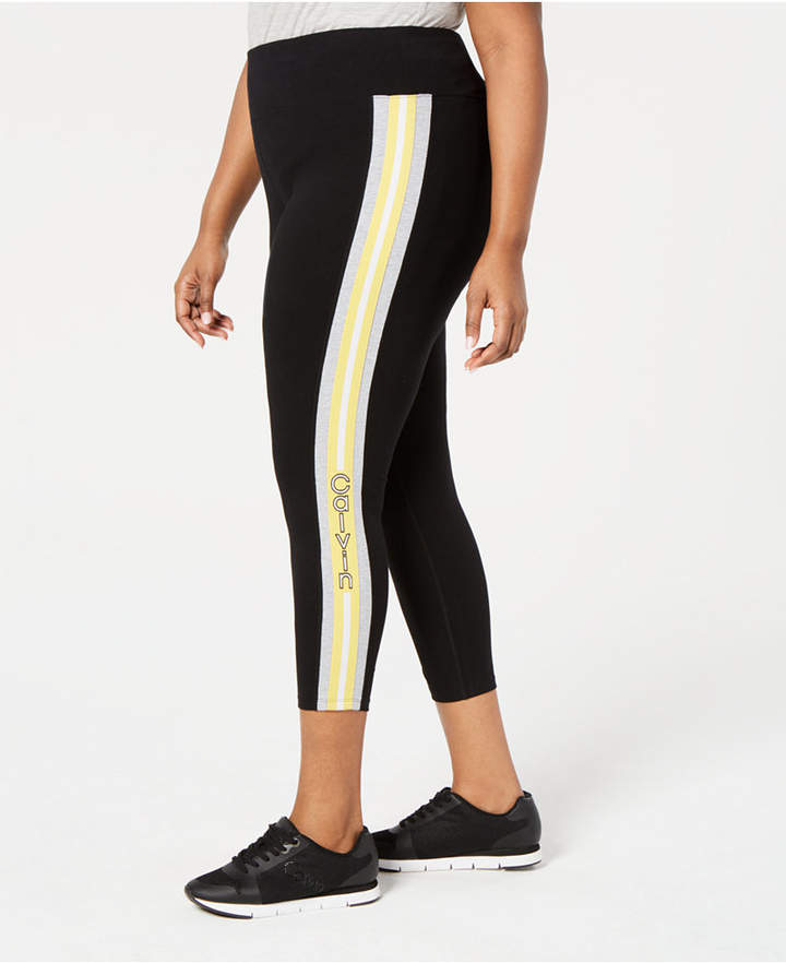 Calvin Klein Plus Size Logo-Stripe Ankle Leggings
