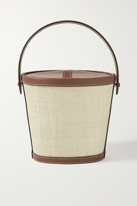 Hunting Season Leather-trimmed Raffia Tote - Light brown