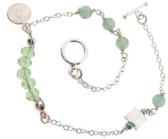 Earth Sterling 20cm 'Micro' Bracelet with Green Aventurine Beads, Silver